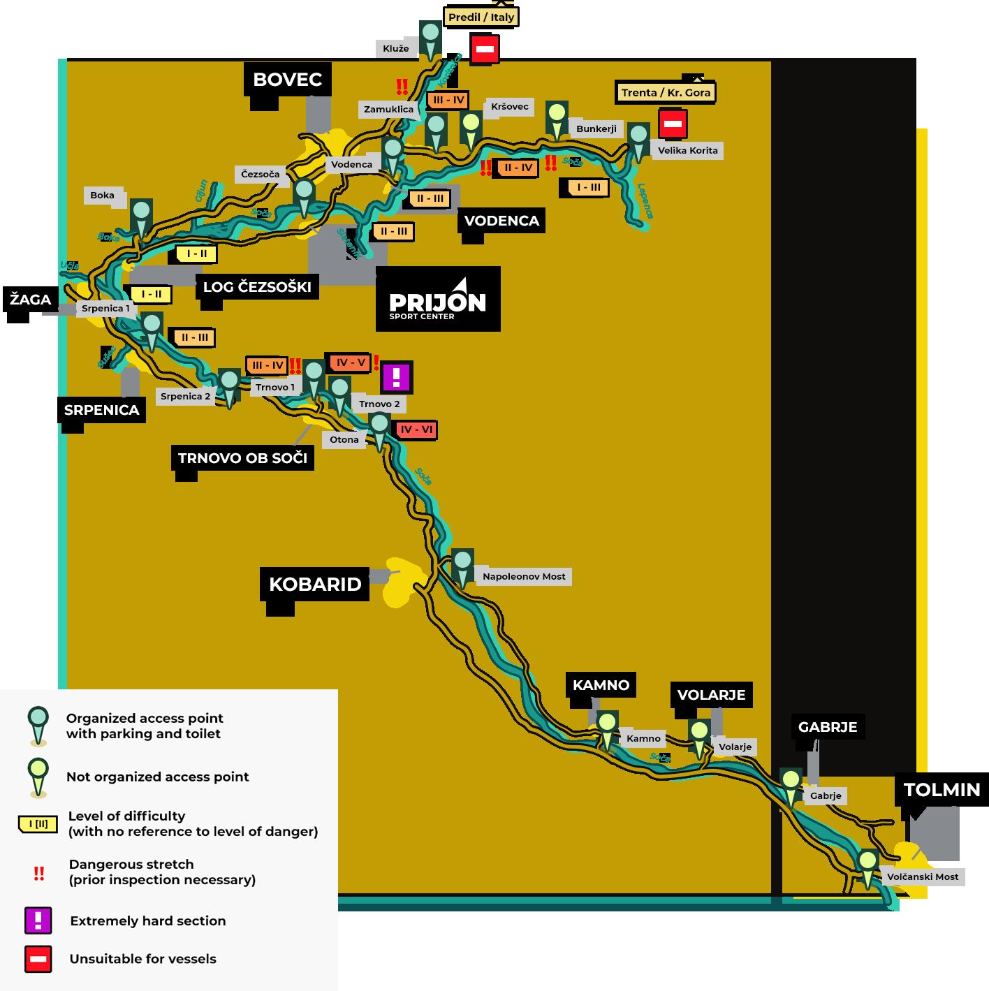 Prijon Sport Center Soča River Map